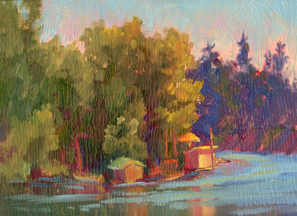 """SUMMER BOAT HOUSES"" original fine art by Karen E Lewis"