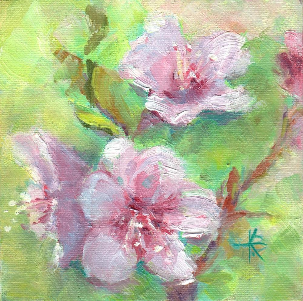 """Pink Blossoms"" original fine art by Kathy Bodamer"