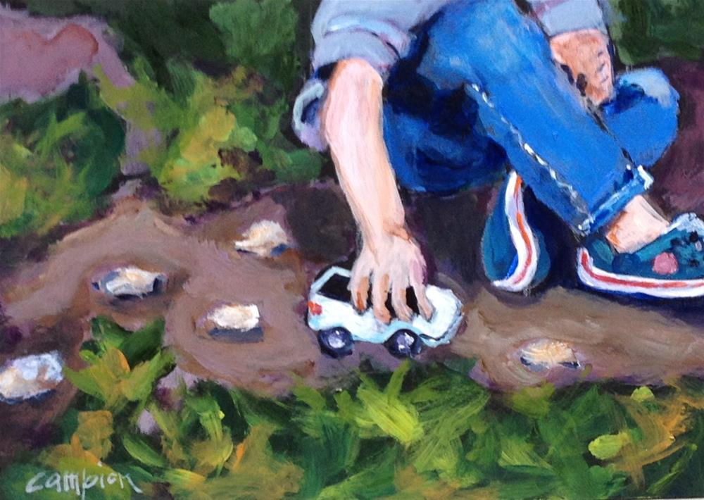"""Boy With Crocs and a Truck"" original fine art by Diane Campion"
