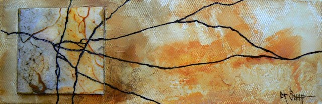 """Mixed Media Abstract Golden Marble 4x12"" original fine art by Carol Schiff"
