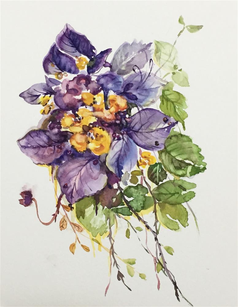 """flower talk"" original fine art by Jingyi Wang"