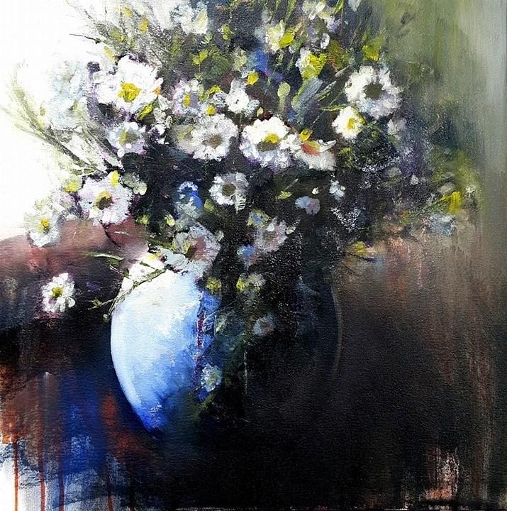"""Michaelmas Daisies"" original fine art by Rentia Coetzee"