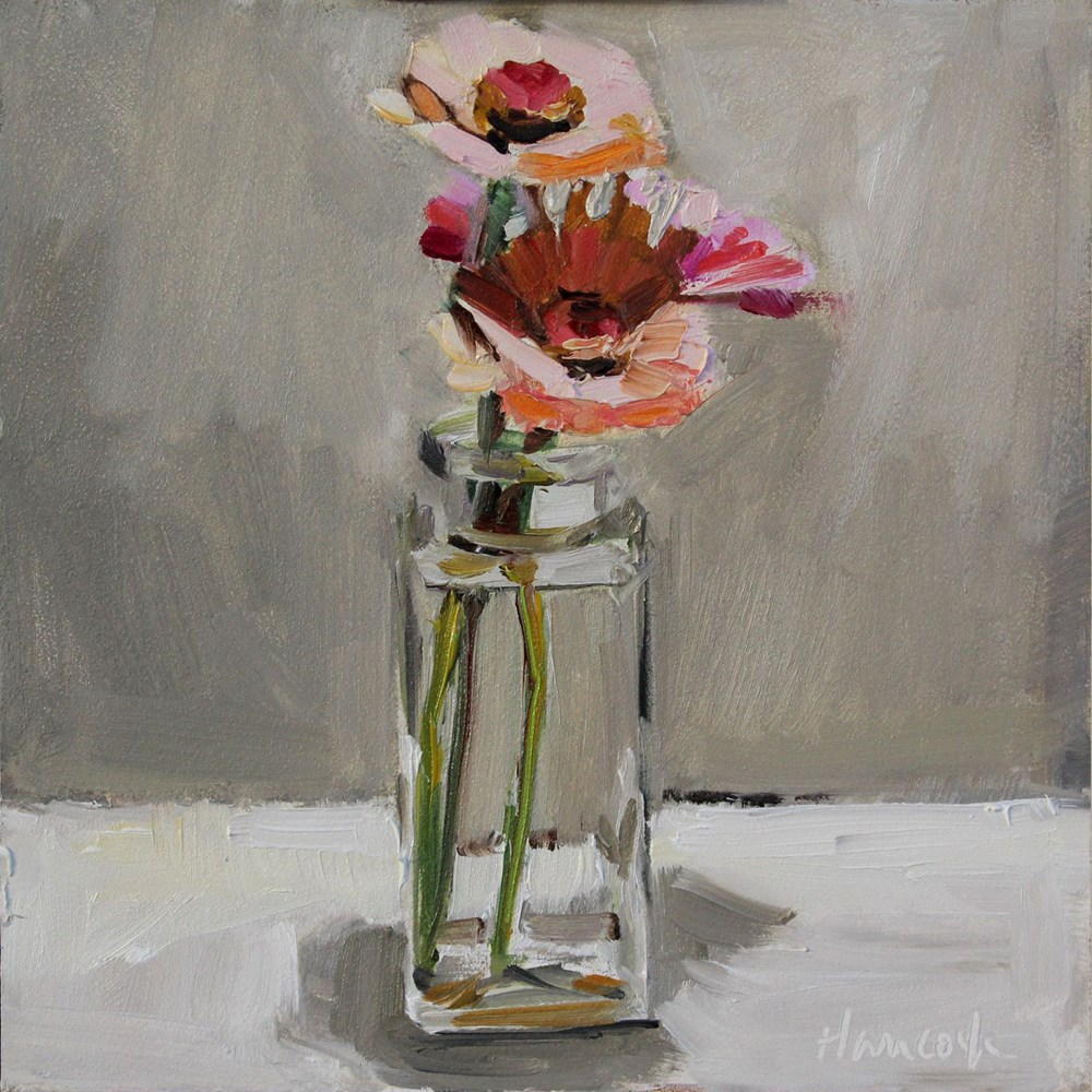 """Zinnias Square Jar Top Light"" original fine art by Gretchen Hancock"