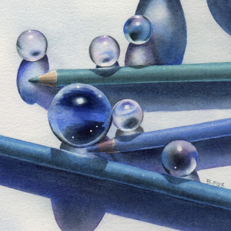 """A TOUCH OF BLUE watercolor still life painting"" original fine art by Barbara Fox"