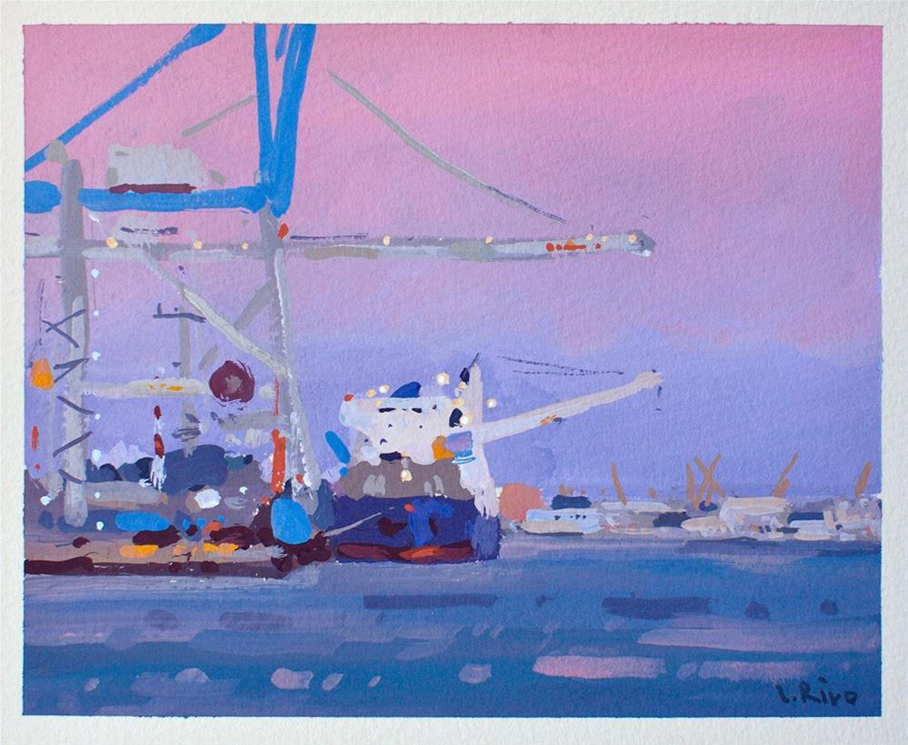 """Setúbal Shipyard - Summer Evening"" original fine art by Lena  Rivo"