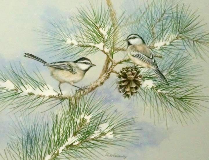 """""""Mountain Chickadees"""" original fine art by Jean Pierre DeBernay"""