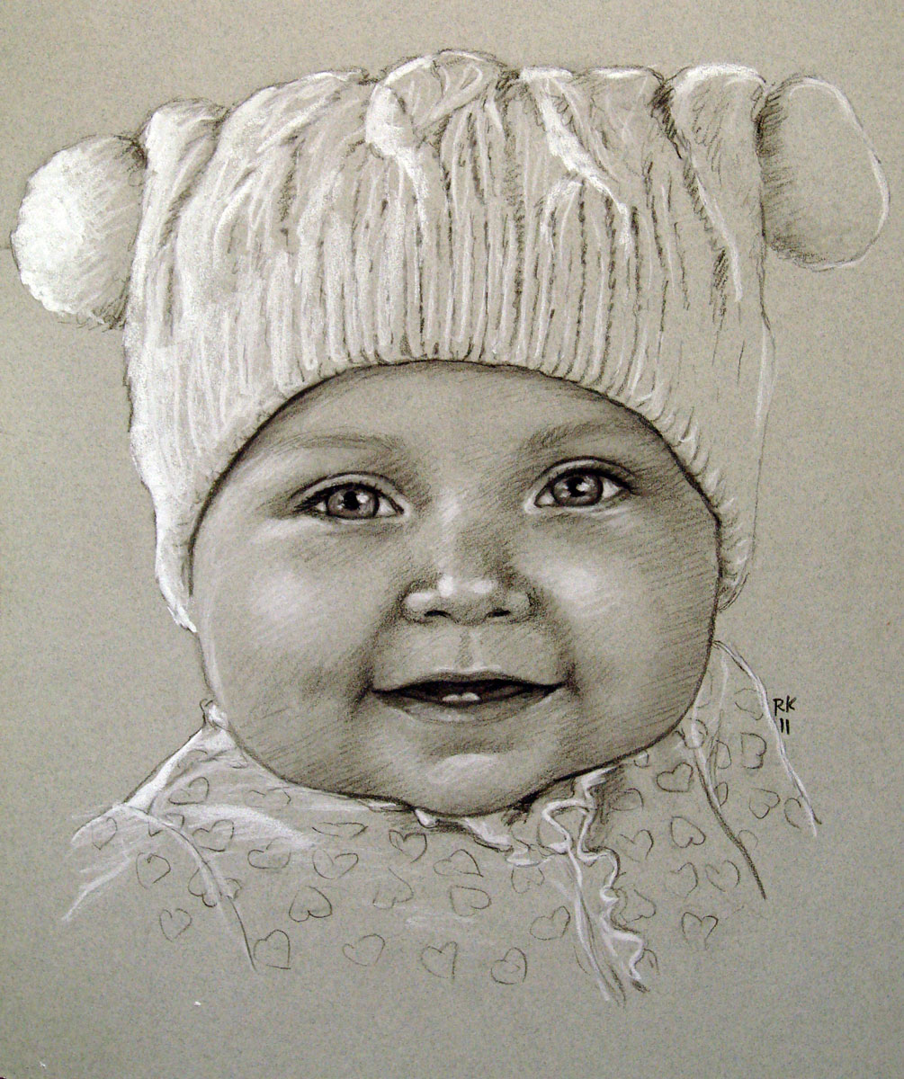 """Winter Baby - A Portrait Commission"" original fine art by Rita Kirkman"