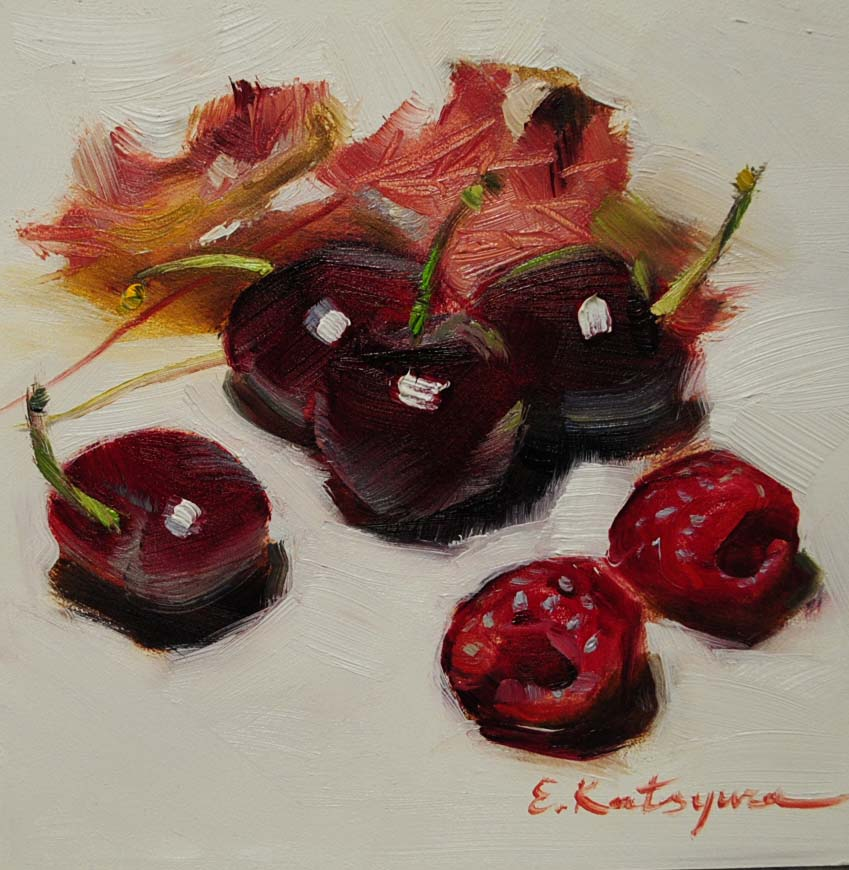 """""""Little Berries"""" original fine art by Elena Katsyura"""