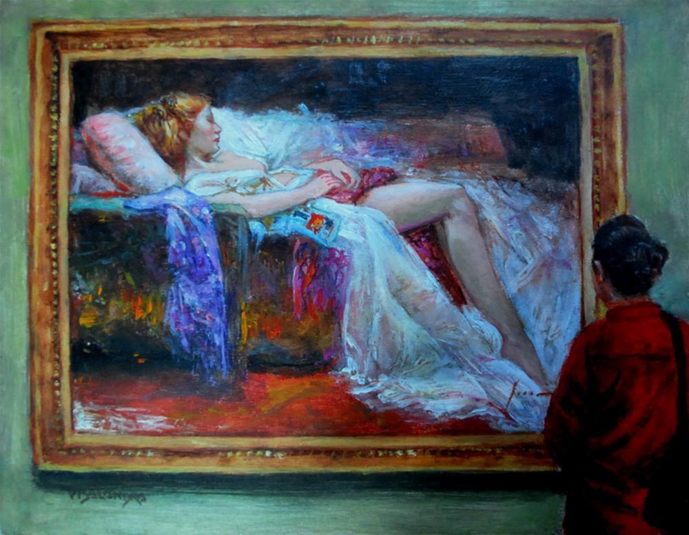 """museum visitor 7"" original fine art by vishalandra dakur"