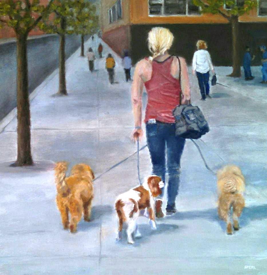 """""""Walking the Dogs"""" original fine art by Cheri Sperl"""