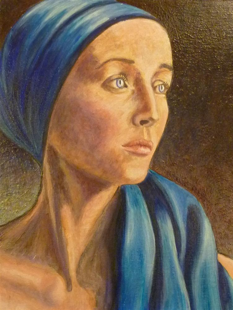 """Blue Scarf Lady"" original fine art by Ande Hall"
