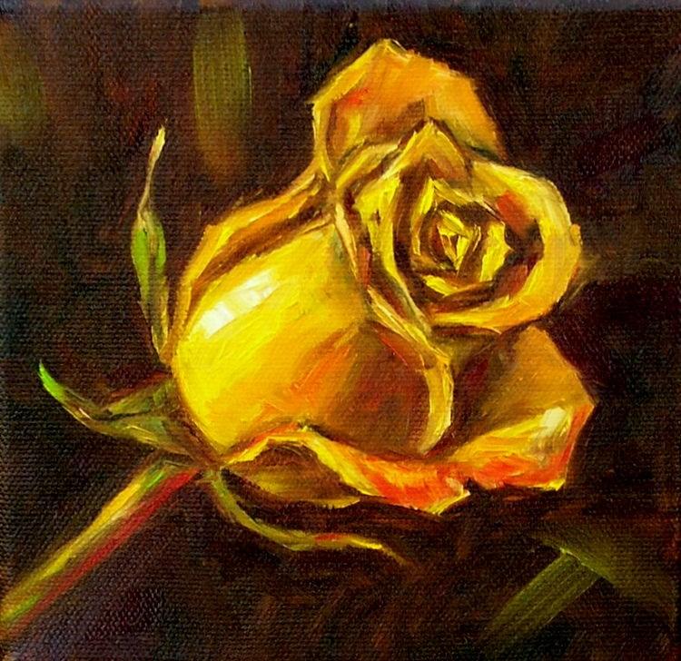 """""""Yellow Rose Study"""" original fine art by Irina Beskina"""