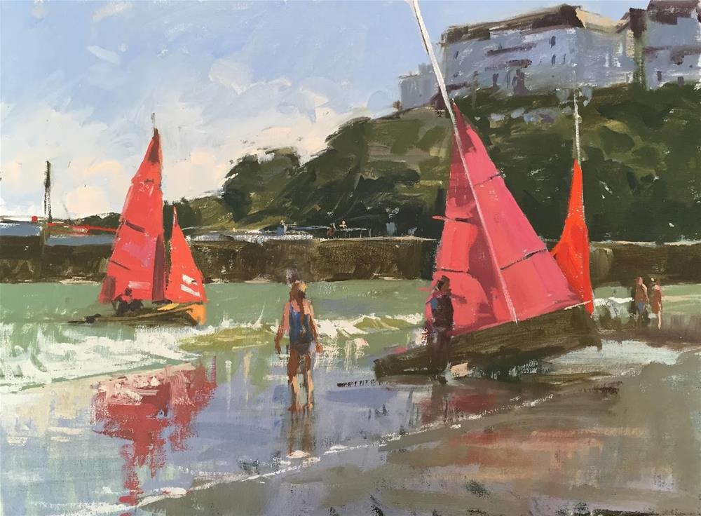 """Redwings at Looe"" original fine art by Haidee-Jo Summers ROI"