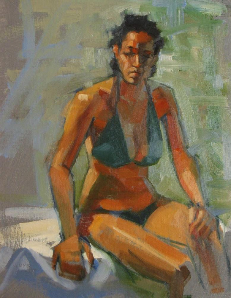 """Green Bikini 11 x 14  oil"" original fine art by Claudia Hammer"