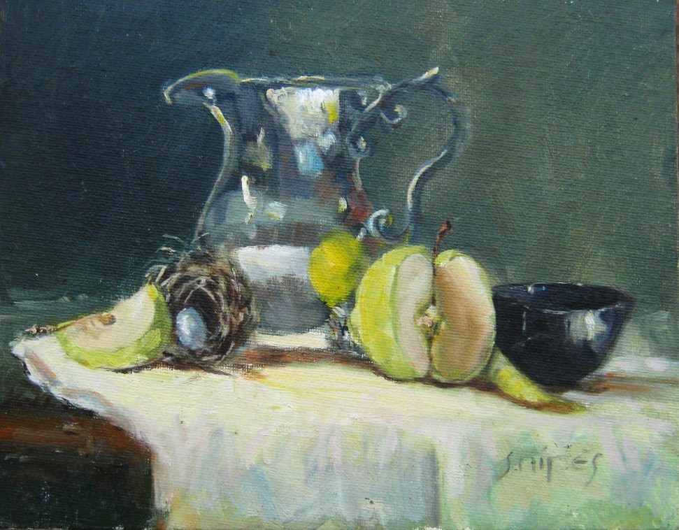 """Still Life with Apple"" original fine art by Connie Snipes"