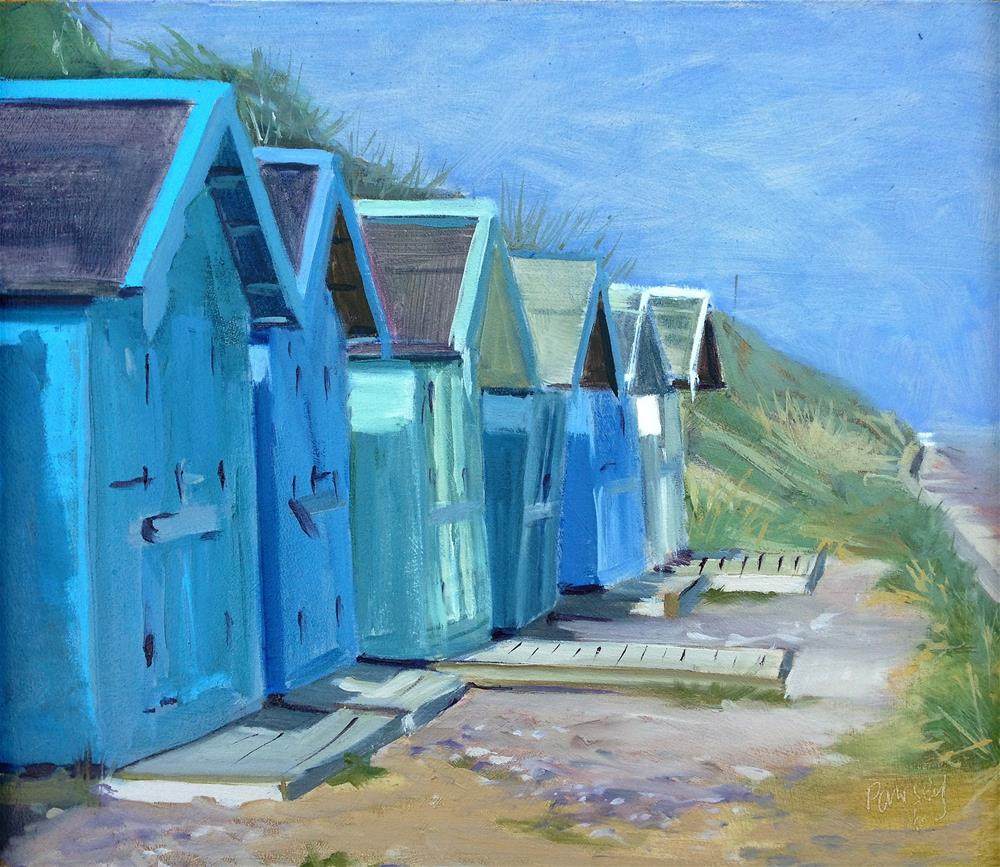 """Beach Huts Overstrand #1"" original fine art by Tanya Pawsey"