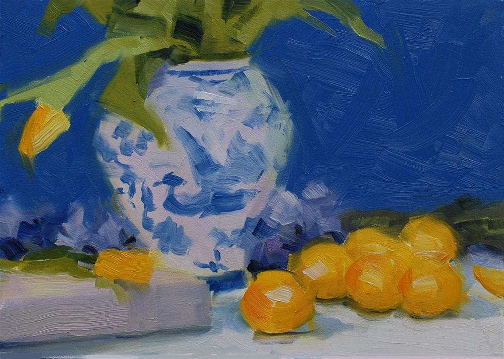 """Lemons and Tulips"" original fine art by Susan McManamen"