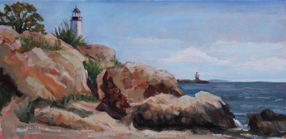 """Rocky Craig - Lighthouse Point New Haven, CT"" original fine art by Linda Marino"