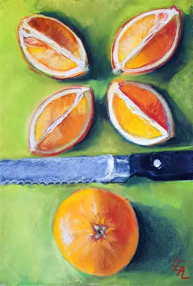 """Oranges on Lime"" original fine art by Anna Lisa Leal"