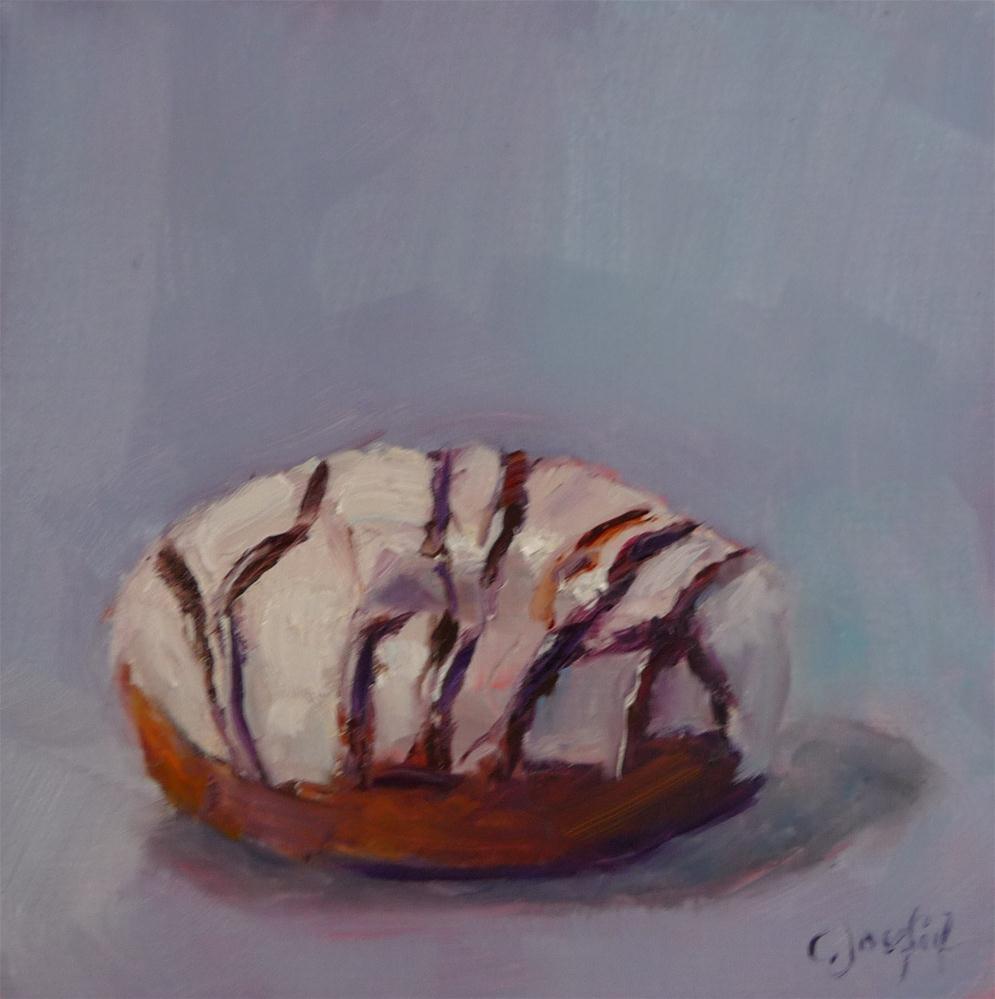 """""""Donut with white frosting with chocolate drips"""" original fine art by Carol Josefiak"""