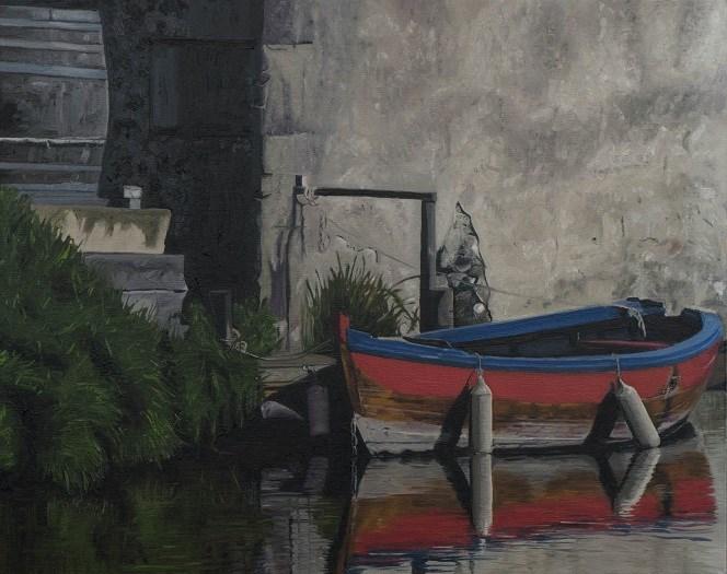 """""""Red boat at dock"""" original fine art by Tim Gier"""