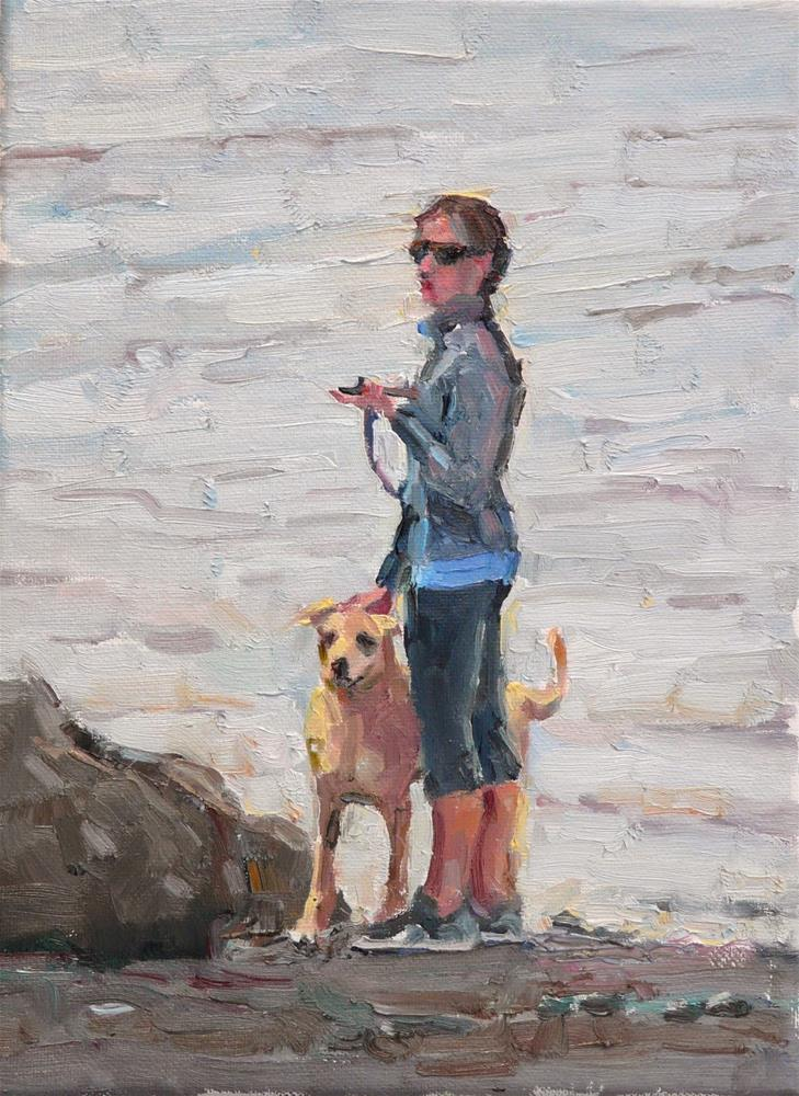 """Dog with Lady by the Bay,figure,oil on canvas,12x9,Price$500"" original fine art by Joy Olney"
