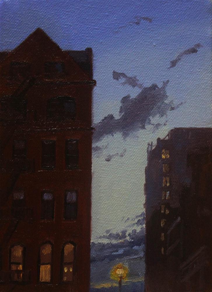 """""""West 23rd Street at Dusk"""" original fine art by Ski Holm"""