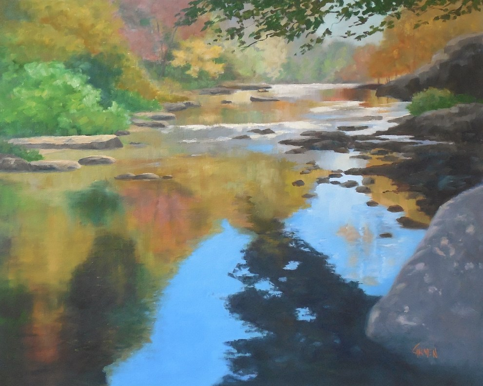 """Oil Painting, Patchwork River, 20x16 Landscape with Reflections"" original fine art by Carmen Beecher"
