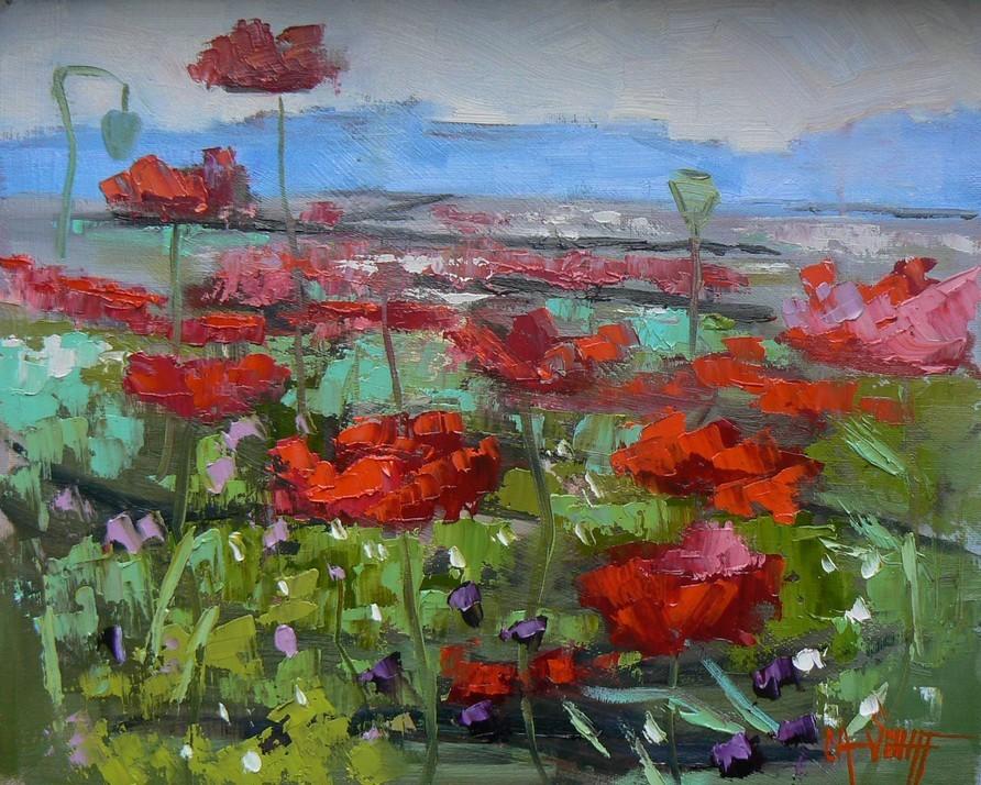 Poppyfield original fine art by Carol Schiff