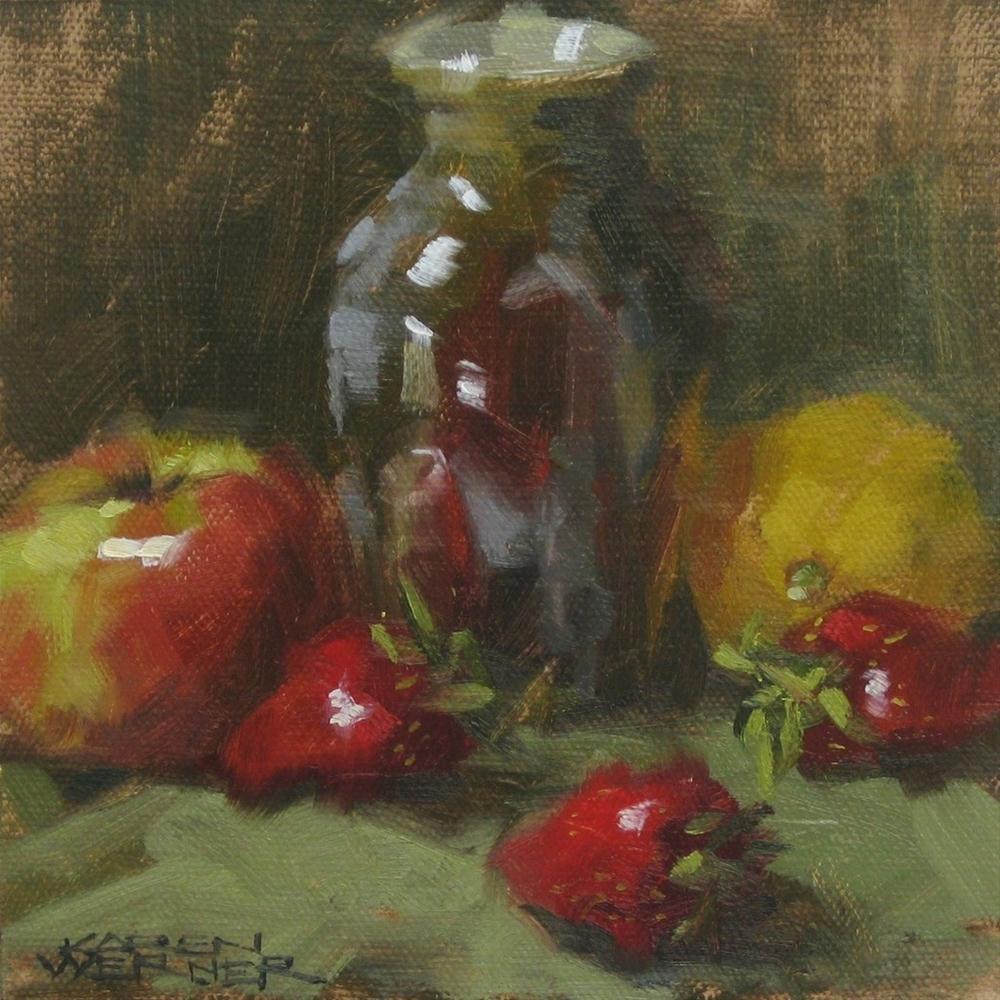 """""""Vase With Fruit"""" original fine art by Karen Werner"""