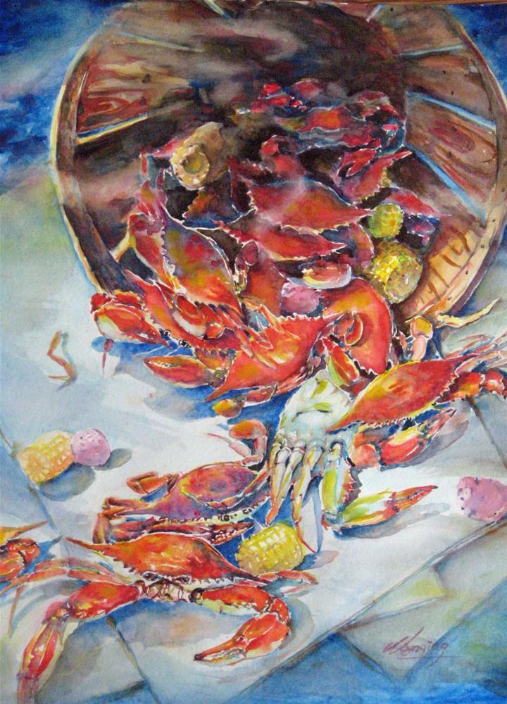 """Crabs! Crabs!"" original fine art by Wenqing Xu"