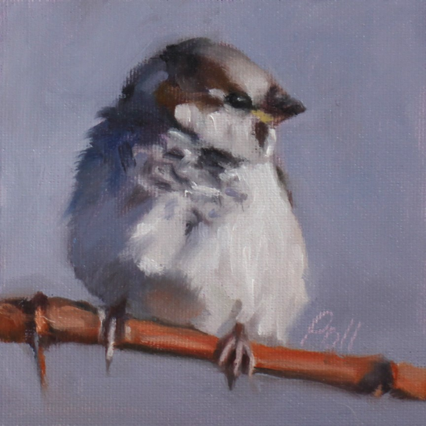 """Sparrow on Grapevine"" original fine art by Pamela Poll"