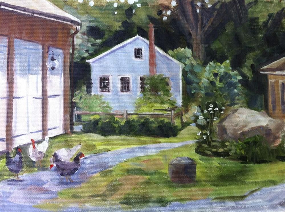 """Driveway Chickens"" original fine art by Linda Marino"
