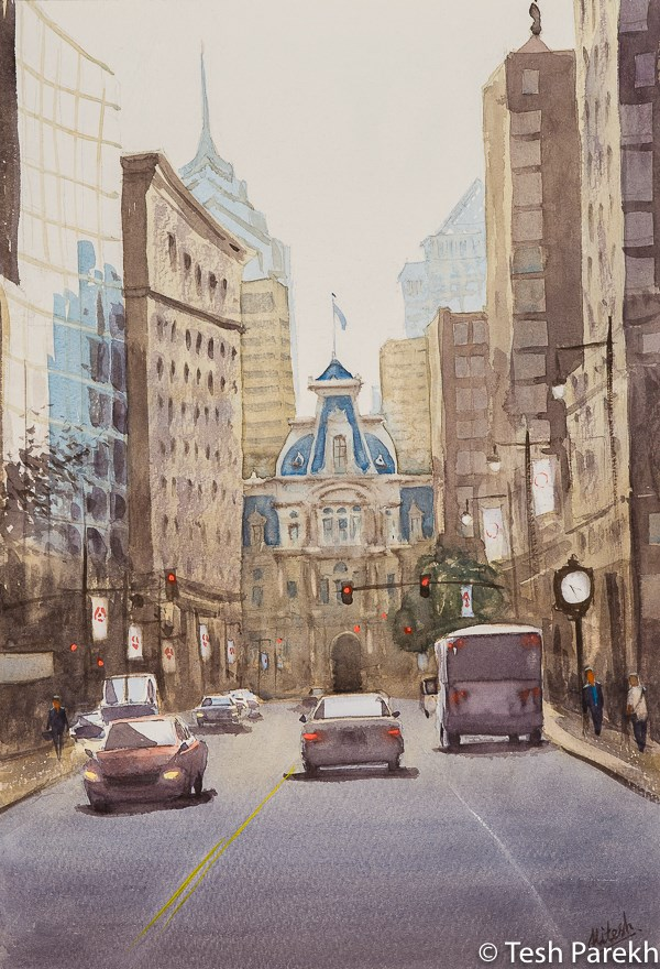 """Philadelphia City Hall"" original fine art by Tesh Parekh"