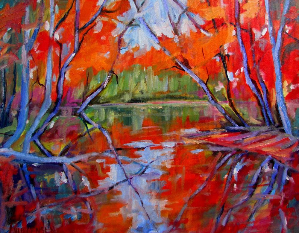 """16 x 20 inch oil Autumn Reflections"" original fine art by Linda Yurgensen"