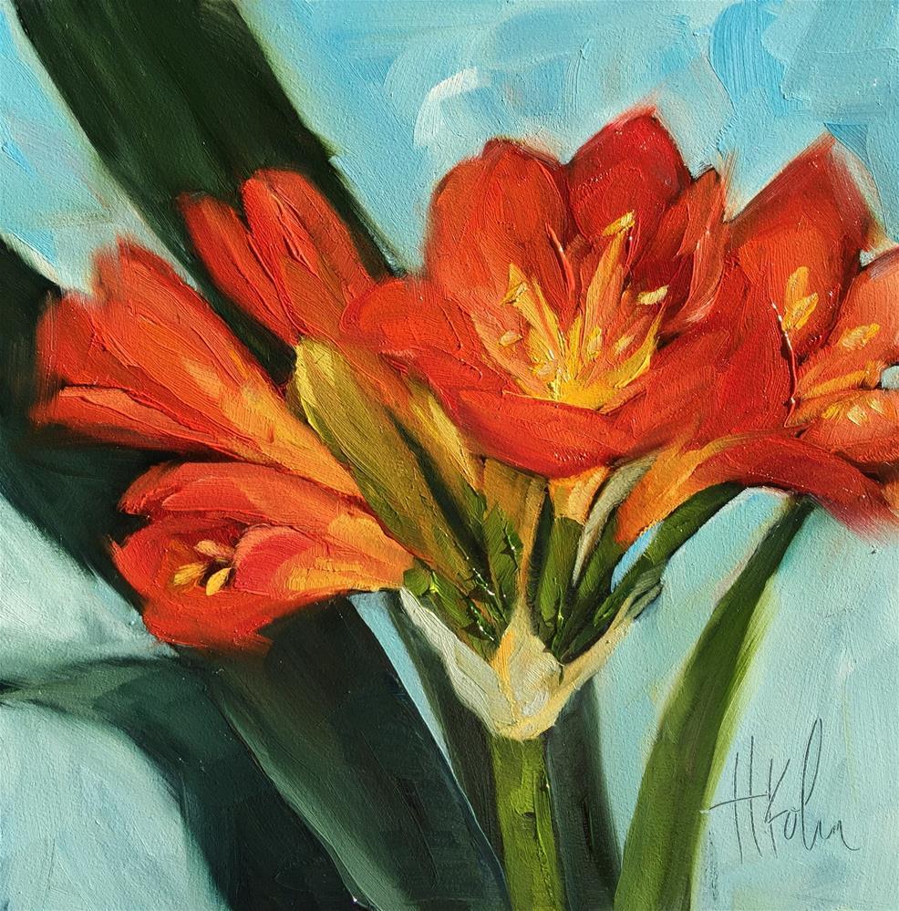 """Amaryllis Bulbs"" original fine art by Hallie Kohn"