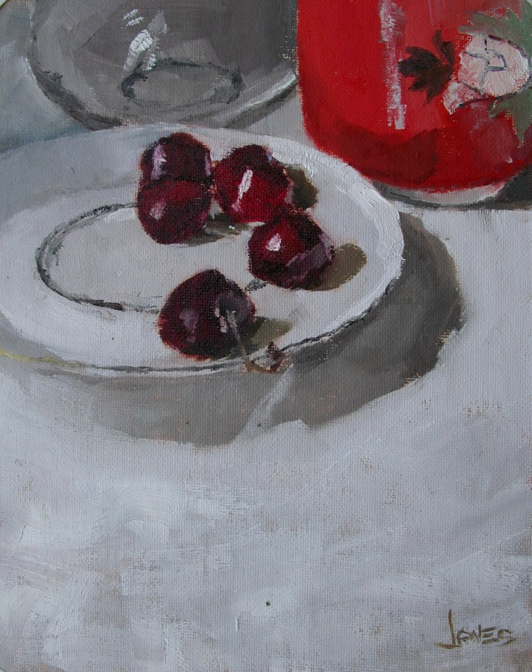 """Cherries on a Plate"" original fine art by Richard Jones"