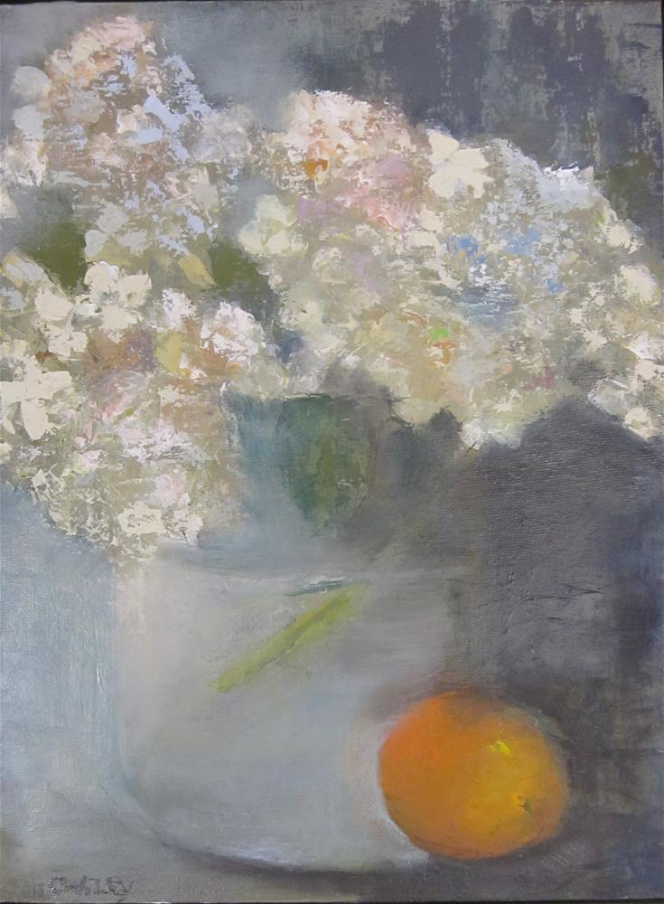"""Hydrangea with Orange"" original fine art by Carol Wiley"
