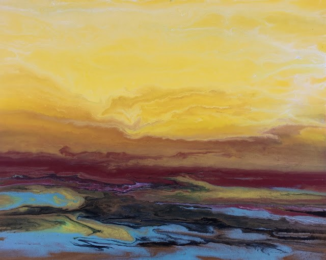 """Abstract Landscape,Sunrise Art Painting Golden Hour by International Contemporary Artist Kimberly"" original fine art by Kimberly Conrad"