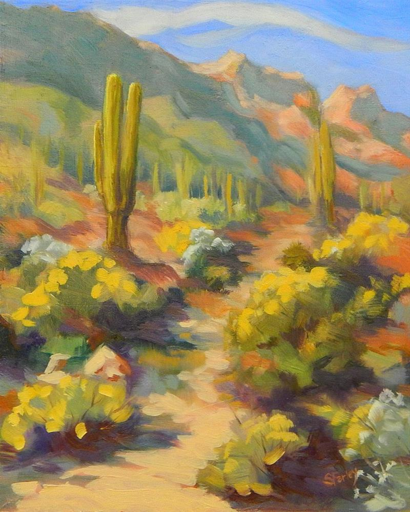 """Gold At Quail Pass Mountain"" original fine art by Sandy Farley"
