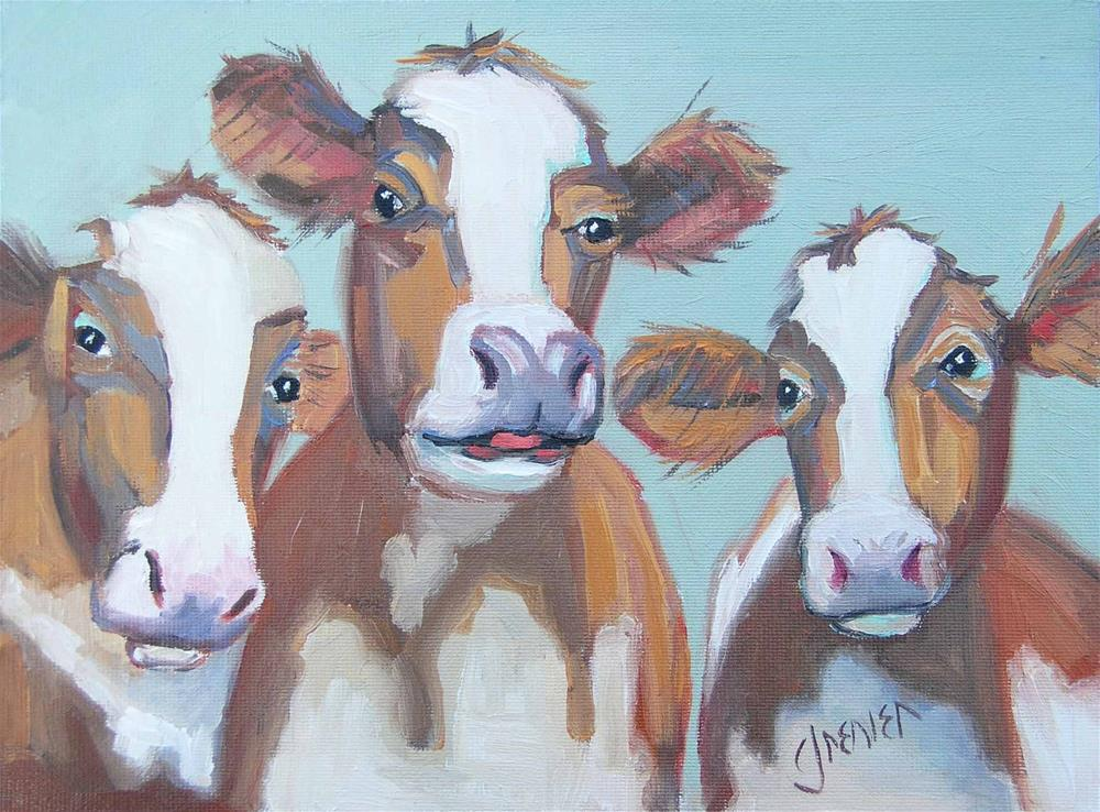 """3 Brown Cows"" original fine art by jean grenier"