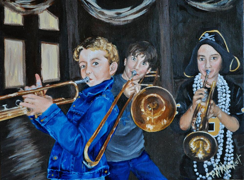 """Boy Band Trio with Horns"" original fine art by Peggy W Morvant"