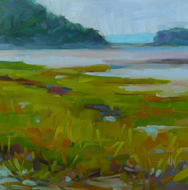 """Summer Days 6x6 oil on board. This is a painting from Partridge Island in Nova Scotia. The misty blues and greens are the main attraction in this."" original fine art by Mary Sheehan Winn"