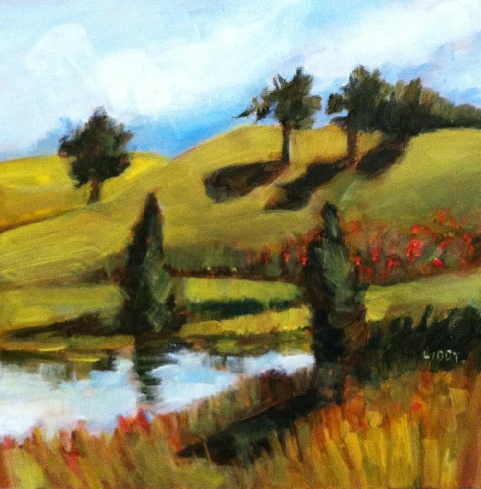 """Poppies at the Pond"" original fine art by Libby Anderson"