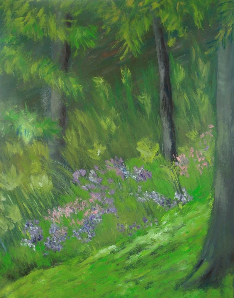 """Original Plein Air Painting of Douthat State Park Pines"" original fine art by Sue Furrow"