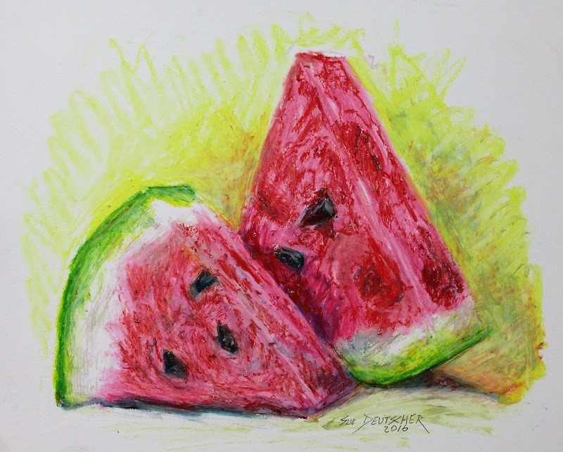 """watermelon"" original fine art by Sue Deutscher"