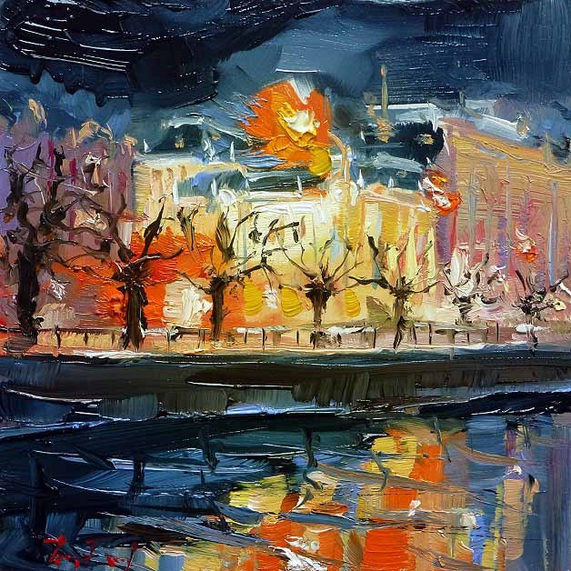 """Stadttheater"" original fine art by Jurij Frey"