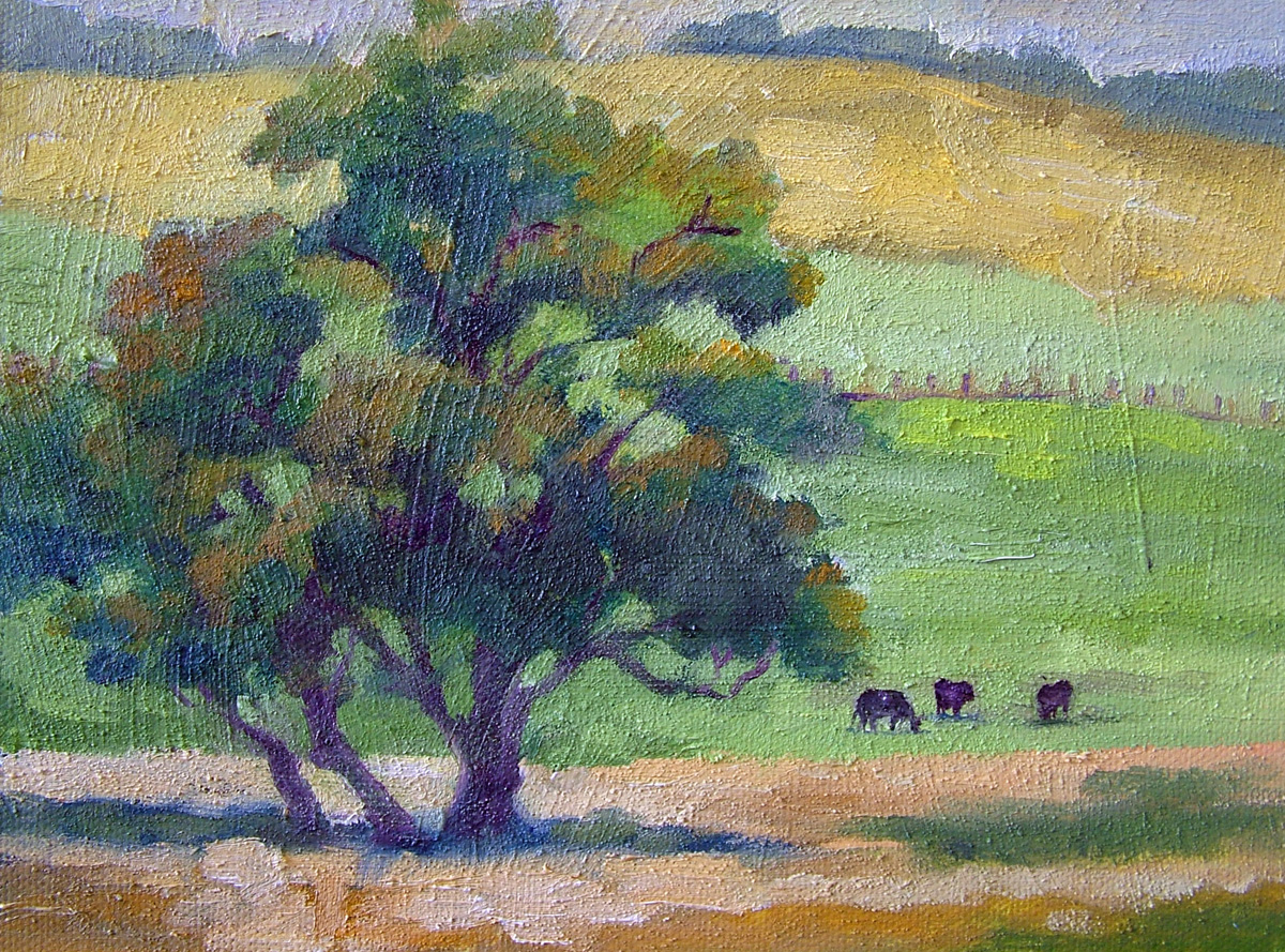 """Cows in the Field"" original fine art by Nancy Paris Pruden"