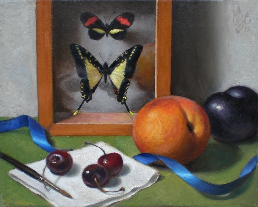 """Butterflies and Fruit Still Life"" original fine art by Debra Becks Cooper"