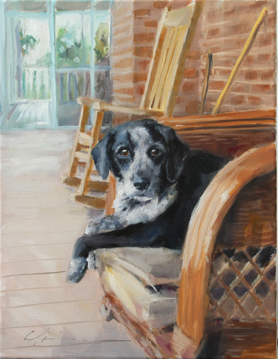 """Porch Dog Commission"" original fine art by Clair Hartmann"
